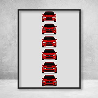 Subaru WRX STI Poster Print Wall Art of the History and Evolution of the Subie STI Generations (Red Cars)