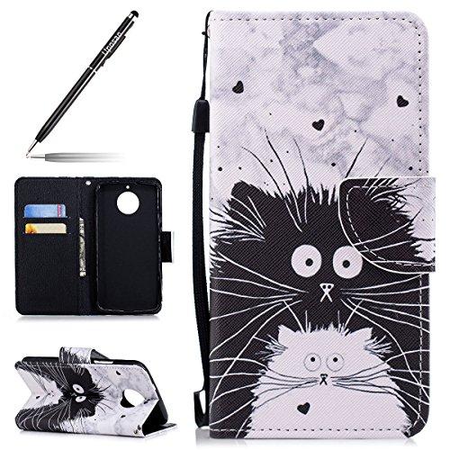 Uposao Kompatibel mit Motorola Moto G6 Leder Tasche Schutzhülle Handytasche Brieftasche Ledertasche Lederhülle Bunt Muster Klapphülle Book Hülle Schutzhülle Flip Cover,Lustig Katze