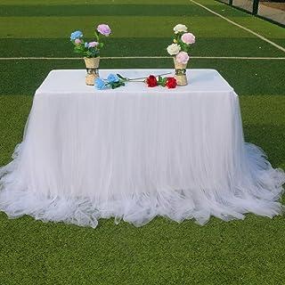 تنورة طاولة بيضاء بطول 9 أقدام من التول تنورة للطاولة لطاولة مستطيلة أو دائرية من التول مفرش مائدة مناسب للحفلات وحفلات ال...