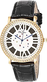 Charisma Women's White Dial Leather Band Watch - 6666/ gold/white dial/black band color