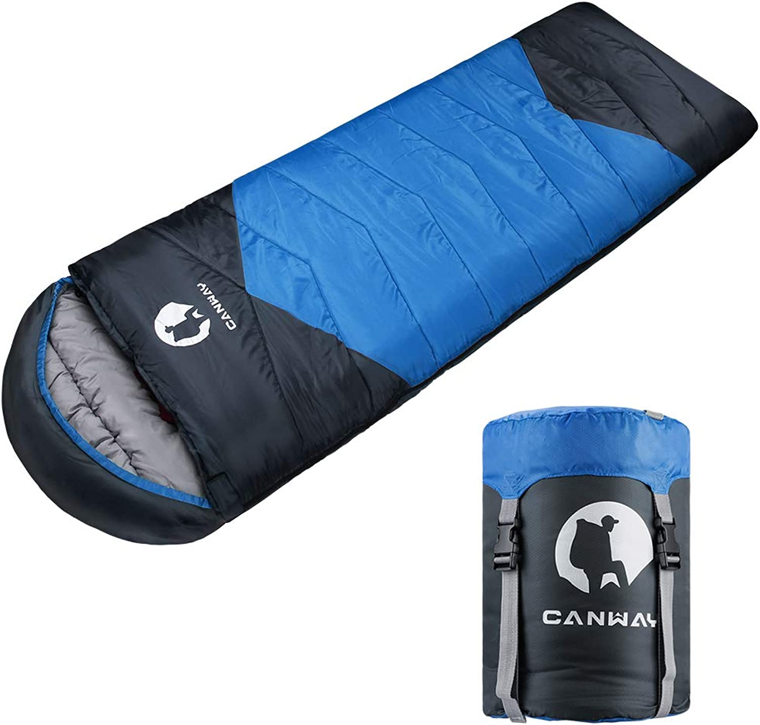 CANWAY Sleeping Bag with Compression Sack Lightweight and Waterproof for Warm & Cold Weather Comfort for 4 Seasons Camping Traveling Hiking Backpacking Adults & Kids