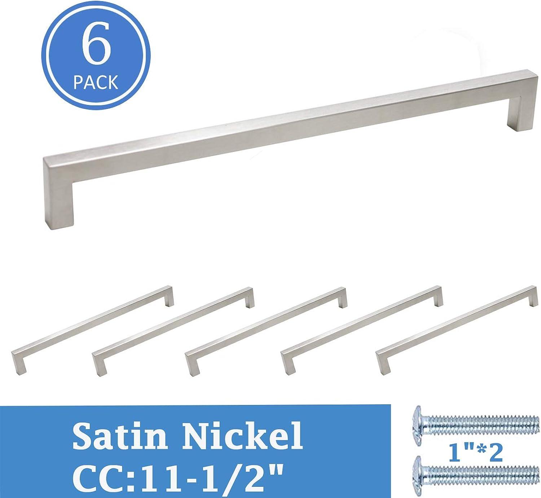 6 Pack Knobonly Modern Kitchen Cabinet and Dresser Door Pulls Drawer Handles 11-1 2 Inch Hole Centers, 12mm Width