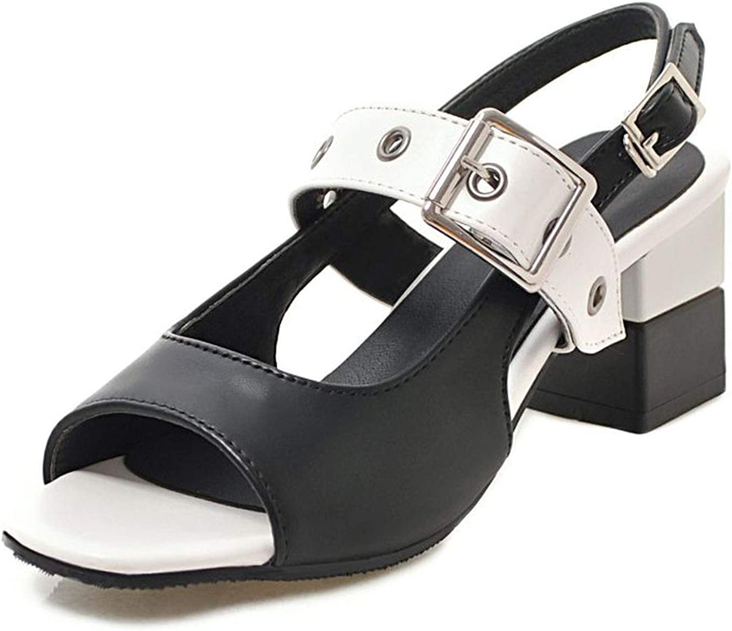 Women Mixed colors Metal Buckle Spring Fashion Sandals Party Office Ladies Club Summer shoes Women