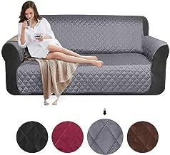 SearchI Fundas de Sofá 3 Plazas Impermeable Cubierta para Sofa Reversible Cubre de Sofa Antideslizante Protector para Sofás Muebles Acolchado contra Mascotas, Polvo y Manchas,Lavable (Gris)