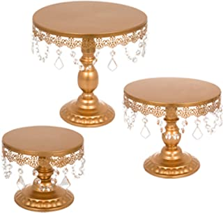 Happybuy 3 PCS Gold Cake Stand Set with Pendants and Beads Round Metal Antique Cupcake Holder Dessert Base Display Plate for Wedding Birthday Party Cake Stands (3PCS, Gold)