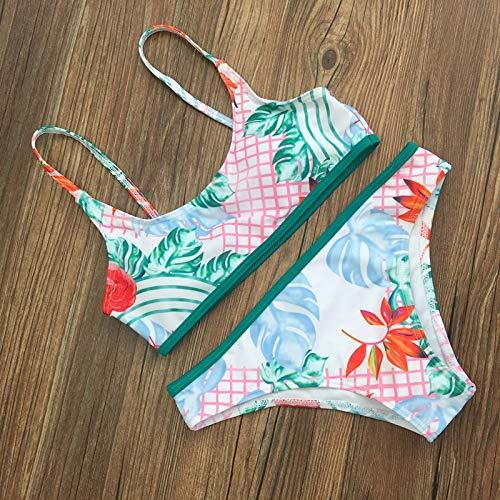 GUOZI Bikini Bikini Set Groen Eenvoudige Bloem Badmode Vrouwen Badpak Badpak