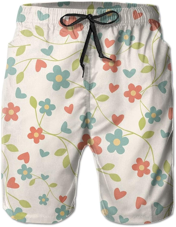 Beach Pants Floral Bud Pattern Men's Workout Gym Short Shorts Pockets Sweatpants Waist Tension Design