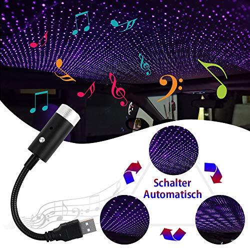 VDARK Autodach Sternenlichter USB LED Auto Innendekoration Licht LED Sternenhimmel Licht Sound Aktiviert Stern Projektor Licht Romantische Auto Atmosphäre Lampe Auto-Switching Lichtmuster (Blau Lila)