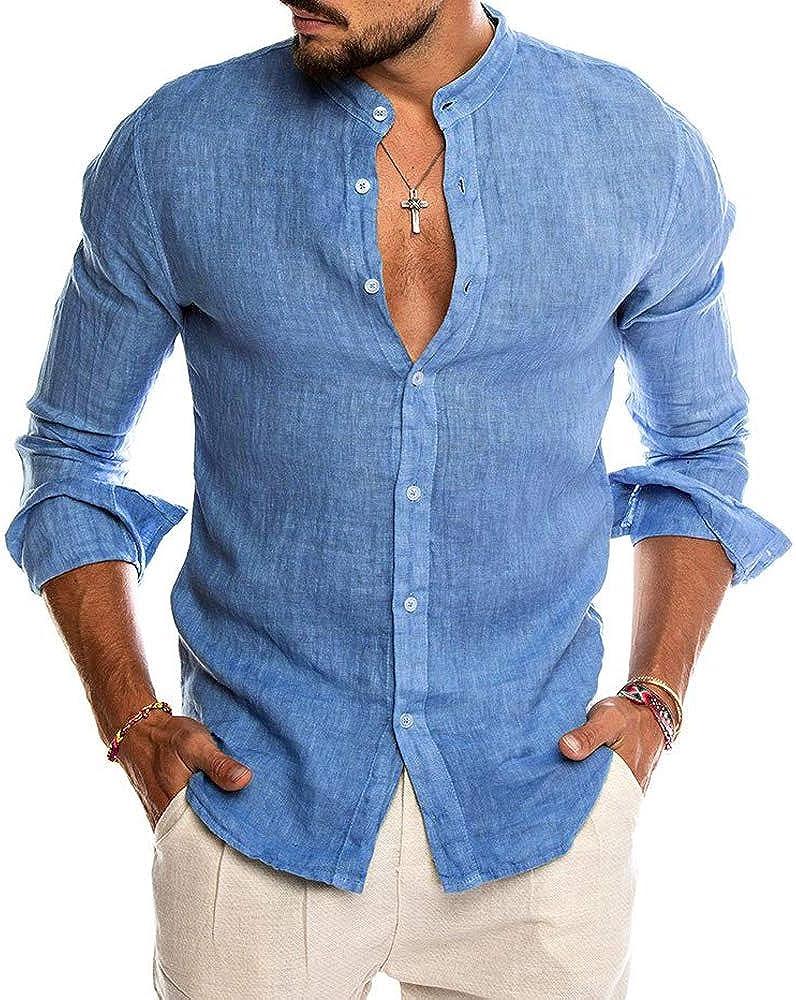 Men 's Casual Cotton Button Down Dress Shirt Stand Collar Slim Fit Long Sleeve Beach Shirts Tops
