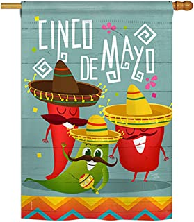 Breeze Decor Chili Pepper Cinco de Mayo Country & Primitive - Everyday Southwest Impressions Decorative Vertical House Flag 28