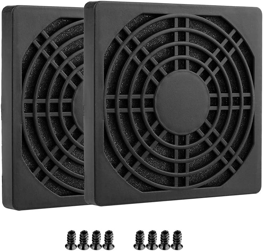 S SIENOC Tapa para ranura PCI con tornillos y cubierta para ventilador con filtro de polvo ultrafino (2 cajas de filtro de 80 x 80 mm), color negro