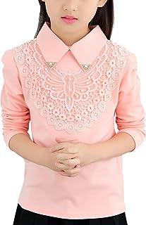 YRINA(ユリーナ) 長袖 ブラウス Tシャツ フォーマル シャツ 入学式 結婚式 発表会 女の子 子供服 キッズ ガールズ