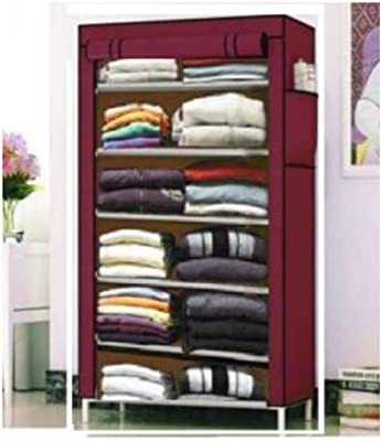 COROID Collapsible Wardrobe Organizer, Storage Rack for Kids and Women, Clothes Cabinet, Bedroom Organiser with 6 Layer_Maroon Hallway