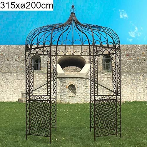 chemin_de_campagne Pergola Gloriette - Gazebo in ferro esagonale, diametro 200 cm, colore: Marrone