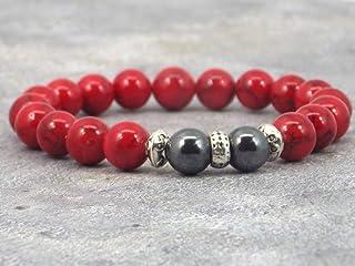 Bracciale Miss Chichi da uomo in perline di turchese rosso e perline di ematite