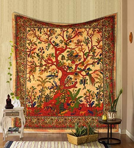 THE ART BOX Wandteppich Gelber Baum des Lebens Wandbehang Psychedelische Wandteppiche Indische Baumwolle Twin Tagesdecke Picknickplatte Wanddekor Decke Wandkunst (Mittel, 60x54 Zoll)