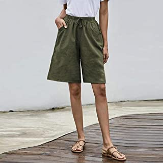 Summer Ladies Shorts Loose Casual Woman Plus Size Solid Tightness Cropped Trousers Pocket Overalls