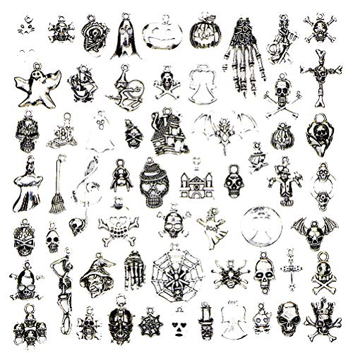 NUOBESTY Halloween Charms,60pcs Halloween Style Antique Silver Craft Charms Pendants for Halloween DIY Necklace Bracelet Making