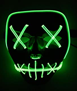 Halloween Mask Cosplay LED Light up Mask Frightening EL Wire Mask for Festival Parties Costume for Kids Man Women