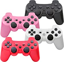 $39 » PS3 Controller Wireless, Gaming Remote Joystick for Playstation 3 with Charger Cable Cord (Pack of 4, Black, Pink, White, ...