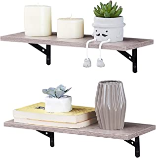 Best SUPERJARE Wall Mounted Floating Shelves, Set of 2, Display Ledge, Storage Rack for Room/Kitchen/Office - Cream Gray Review