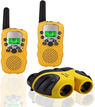 BIBOYELF Best Gifts for Kid,Gifts for Girl 4-8 Year Old, Walkie Talkies Toys for Children with Built in Flash Light, 8 X 21 Kids Binoculars for Children,Cool Toys for 4-5 Year Old Boys,1 Set(Yellow)
