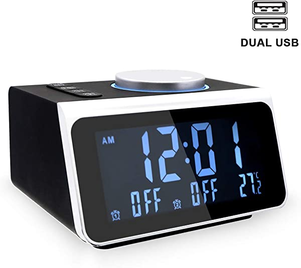 YIKESHU Small Alarm Clock Radio With FM Radio Dual USB Charging Ports Temperature Display Dual Alarms With 7 Alarm Sounds 5 Level Brightness Dimmer Headphone Jack Bedrooms Sleep Timer