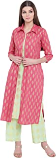 Khushal K Women's Rayon Printed Jacket Kurta With Palazzo Pant Set