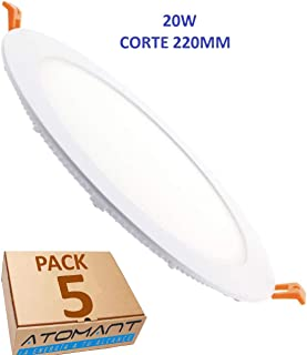 Led Atomant Pack 2x Panel Led Redondo Plano, 20 W, color blanco frio 6500K. Corte 220 mm, Tamaño Exterior 240 mm, 1800 lumenes reales, 2