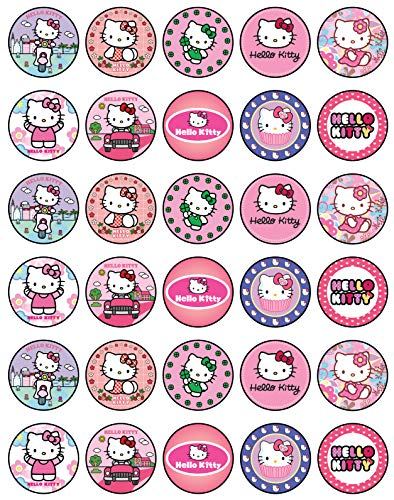 30 x Edible Cupcake Toppers Themed of Hello Kitty Party Collection of Edible Cake Decorations | Uncut Edible on Wafer Sheet