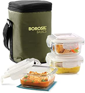 Borosil Basics Glass Lunch Box Set of 3, 320 ml, Square, Microwave Safe Office Tiffin
