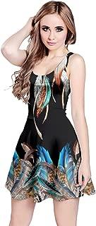 Womens Feather Peacock Bird Dream Catcher Sleeveless Dress, XS-5XL