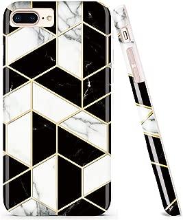 DOUJIAZ Bling Glitter Sparkle Marble Design White Bumper TPU Soft Rubber Silicone Phone Case Compatible with iPhone 7 Plus/8 Plus/6 Plus/6S Plus(Black Grid)