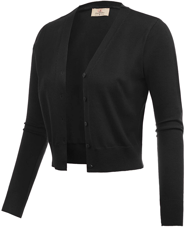 GRACE KARIN Women's Open Front Knit Cropped Bolero Shrug Cardigan Sweater Long Sleeve (S-4XL)
