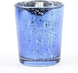 Koyal Wholesale 12-Pack Antique Votive Cups, Mercury Glass Candle Holders, Wedding Votive Candle Holders (Navy Blue)