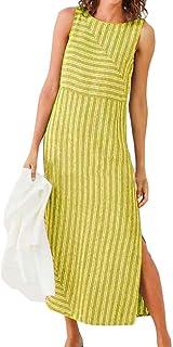 FSSE Womens Sleeveless Side Slit Stripe Sundresses Maxi Dress