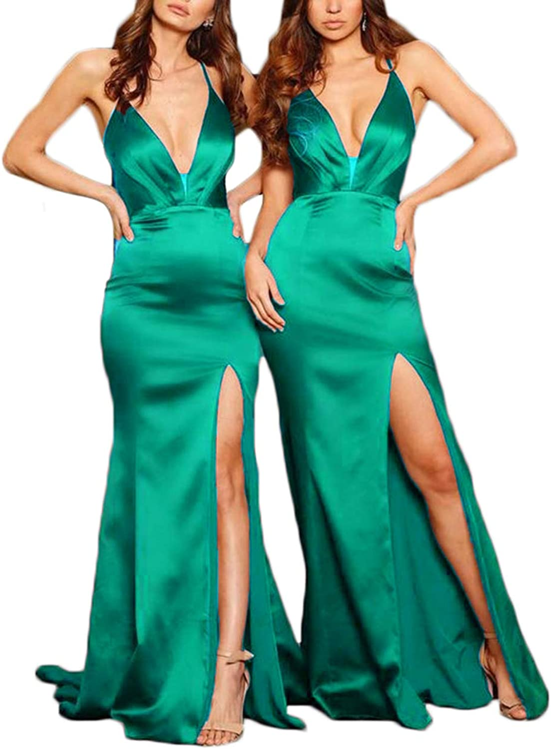Alilith.Z Sexy Deep V Neck Mermaid Prom Evening Dresses 2019 Long Satin Bridesmaid Dresses Party Gowns for Women with Slit