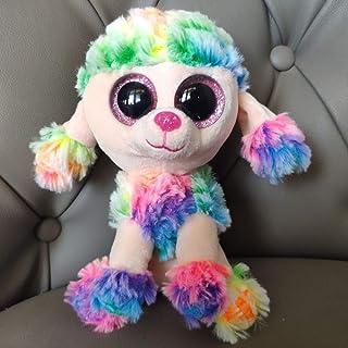 15CM rainbow colorful multicolor poodle dog soft plush toys kids baby toys stuffed animals girl gift big beautiful eyes Ju...