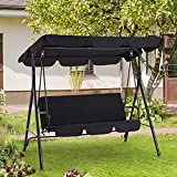 AECOJOY 3-Seat Outdoor Adjustable Canopy Swing Chair with Removable Cushion, Patio Swing Glider w/Weather Resistant Steel Frame, Hanging Lounge Chair for Garden, Porch, Poolside, Backyard