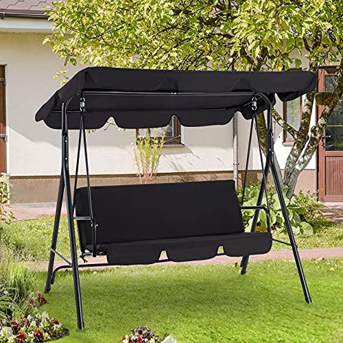 AECOJOY 3-Seat Outdoor Adjustable Canopy Swing...