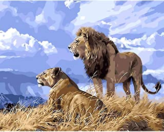 wanghan Painting by Number Lion King Simba Animal DIY Digital Painting by Numbers Modern Wall Art Canvas Painting Unique Gift Home Decor 40X50Cm