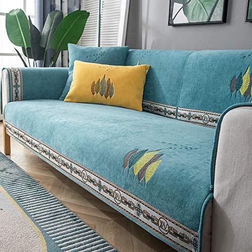 Homeen Sofa hussen,Sofa überwurf Decke,Küchen-/Lounge-Sofa-Schutzhülle, 1/2/3/4 Sitzer Bestickte Couchabdeckung, universelle rutschfeste Sofakissenhülle-Blau_90 * 180 cm