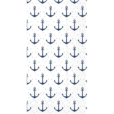 100 Nautical Anchor Guest Napkins 3 Ply Disposable Paper Pack Coastal Beach Sea Shore Boat Summer Pool Dinner Hand Napkin for Bathroom Hotel Gym Spa Party Wedding Bridal Baby Shower Decorative Towels