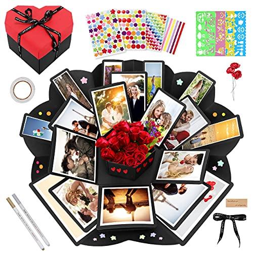 Gifort Scatola Sorpresa, Explosion Box Creativa per Album Fotografico Fai da Te Scrapbook, Scatola Regalo a Forma di Cuore per Compleanno Anniversario Natale San Valentino