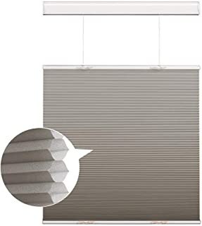 Cordless Cellular Shades Honeycomb Blinds, Silver Grey Light Filtering Top Down and Bottom Up Window Blinds, Custom Honeyc...