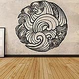 Etiqueta de Yin Yang, etiqueta engomada de la mandala, arte de la pared de Boho, etiqueta engomada de la onda, arte indio de la pared, decoración del dormitorio A5 42x42cm