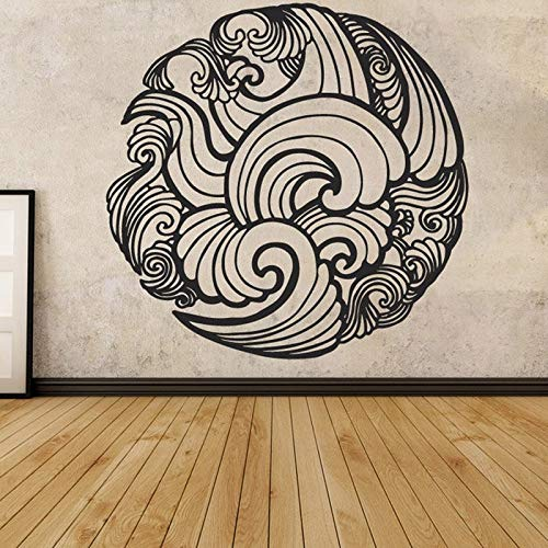 Moda Mehndi calcomanía Mandala pegatina bohemia pared pegatina ola vinilo fondo pegatina Mural Yoga Studio pegatina A8 57X57CM