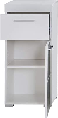 Trendteam Smart Living Commode / Placard de Salle de Bain Amanda, 37 x 79 x 31 cm en Blanc / Blanc Brillant avec Beaucoup d'Espace de Rangement