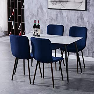 GOLDFAN Table à Manger avec 4 Chaises Table en Verre Rectangulaire Table de Cuisine Chaise en Tissu, Bleu