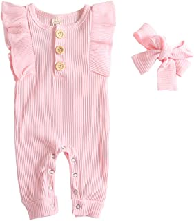 CDZQH Newborn Baby Girls One Piece Jumpsuit, Infant Girl Knitted Romper Ruffle Long Sleeve Bodysuit Outfits